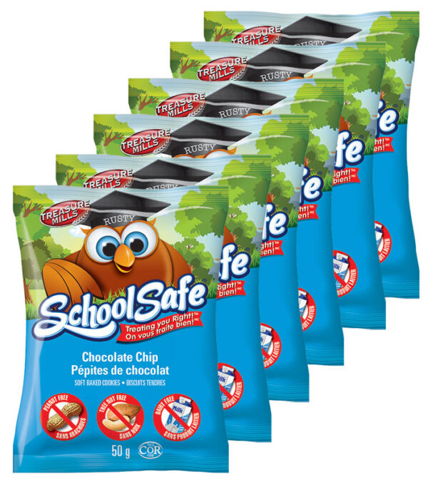 School Safe - Chocolate Chip Soft-baked Cookies - Dairy free - Peanut free - Tree nut free - Individually Wrapped
