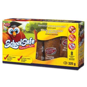 School Safe - Banana Chocolate Chip Snack Cakes - Dairy Free - Peanut Free - Tree nut free - 8 pack Box