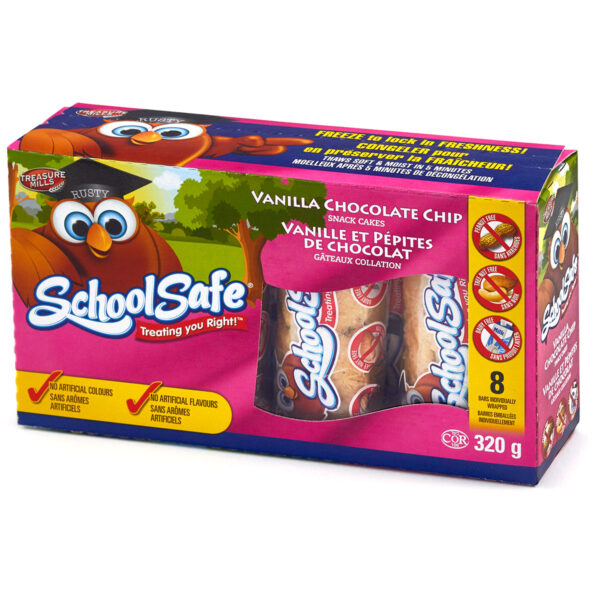 School Safe - Vanilla Chocolate Chip Snack Cakes - Dairy free - Peanut free - Tree nut free - 8 pack box