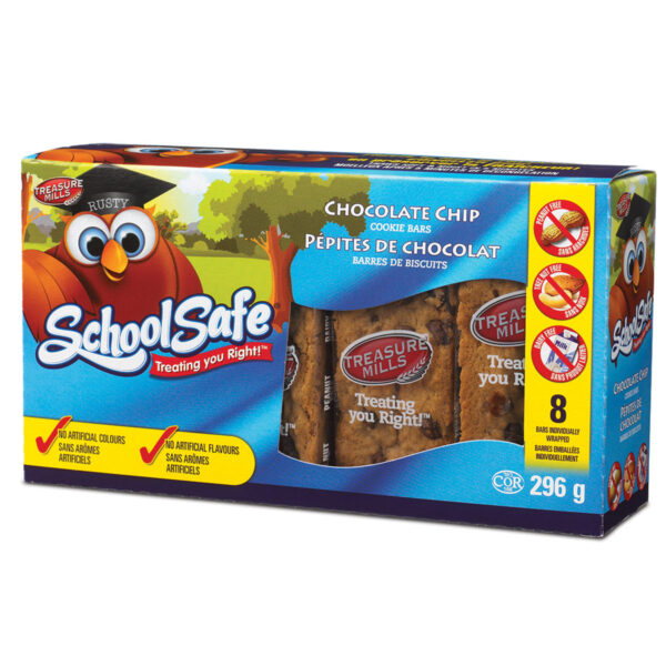 School Safe - Chocolate Chip Cookie Bars - Dairy free - Peanut free - Tree nut free - 8 pack box