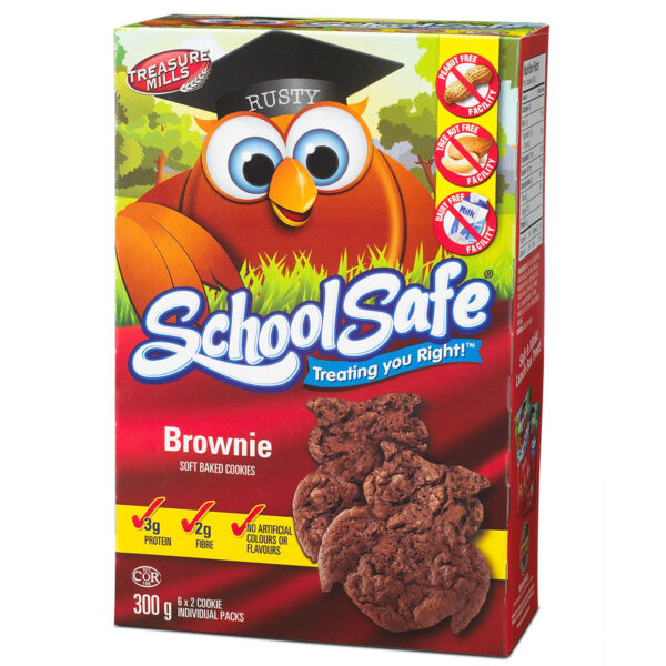 School Safe - Brownie Soft-baked Cookies - Dairy free - Peanut free - Tree nut free - 6 X 2 pack box