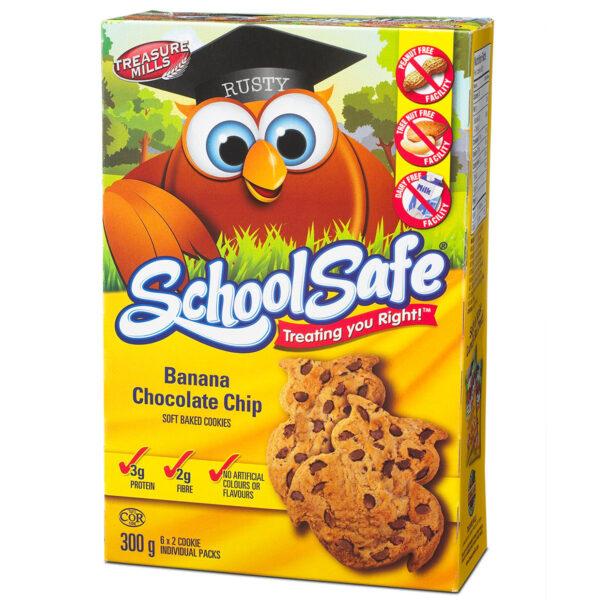 School Safe - Banana Chocolate Chip - Soft-baked Cookies - Dairy free - Peanut free - Tree nut free - 6 X 2 pack Box